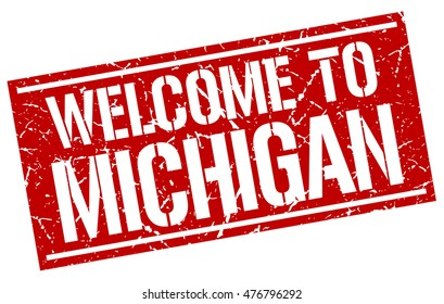 welcome to. Michigan. stamp
