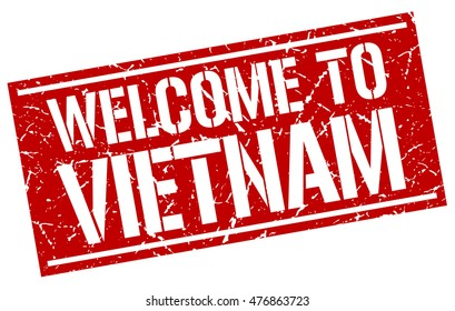 welcome to. Vietnam. stamp
