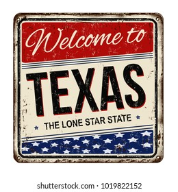 Welcome toTexas vintage rusty metal sign on a white background, vector illustration