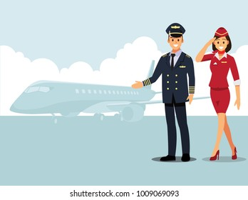 Welcome to travel by plane. Pilot, capitan  , flying attendants  ,air hostess  , Vector illustration cartoon character