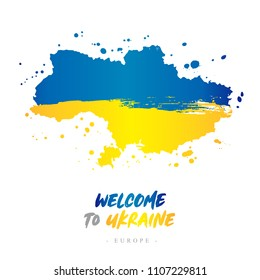 Welcome to Ukraine. Europe. Flag and map of the country of Ukraine from brush strokes.