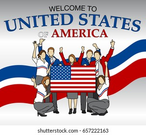 Welcome to United States of America. Group of people dressed in the colors of the USA flag, waving with hands and holding the flag - Vector image