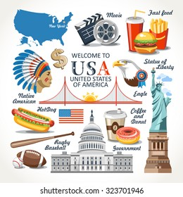 welcome to united states of america traditional set sign residence