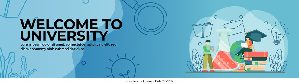 Welcome to university Web Banner Design. On campus learning concept. online education, digital classroom. E-Learning concept. header or footer banner.