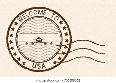 Welcome to USA brown stamp. With airplane sign. Vector illustration on beige background