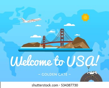 Welcome to USA poster with famous attraction vector illustration. Travel design with Golden Gate bridge in San Francisco. Time to travel USA, discover new places concept, tour guide traveling agency