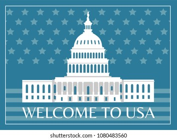 Welcome to USA poster with headline and frame, capitol as symbolic representation sign of american freedom on flag vector illustration postcard