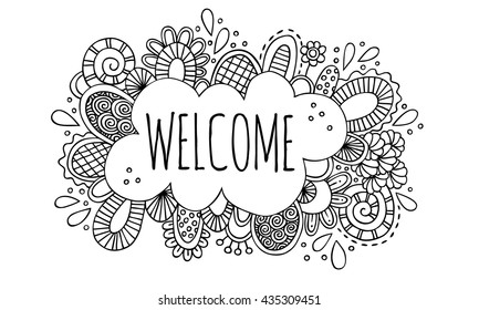 Welcome Vector Doodle Drawing Black and white doodle vector illustration with the word welcome, abstract shapes and swirls.