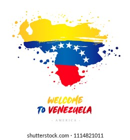 Welcome to Venezuela. America. Flag and map of the country of Venezuela from brush strokes. Lettering. Vector illustration on white background.