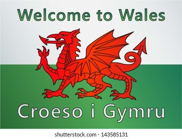 Welcome to Wales (UK) / Croeso i Gymru sign -  Red dragon on the white and green flag, vector illustration