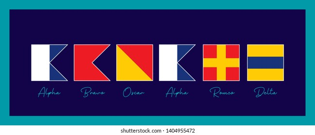 Welcome, Wall Ornament For Ship. Prepared with International Maritime Sign Flags and Phonetics. Vector drawing related to maritime. Wall ornament, poster, flag, label, gift card, boat decoration,