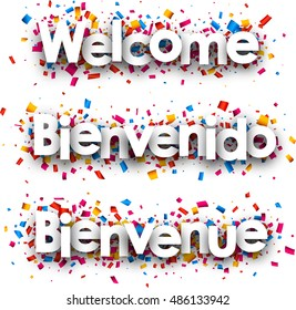 Welcome white paper banner with confetti, Spanish, French. Vector illustration.