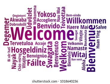 WELCOME word cloud in different languages, concept purple low poly background