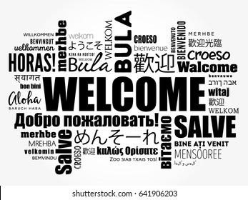 WELCOME word cloud in different languages, conceptual background