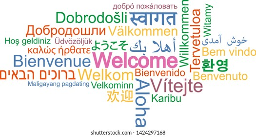WELCOME word cloud in many different languages vector illustration
