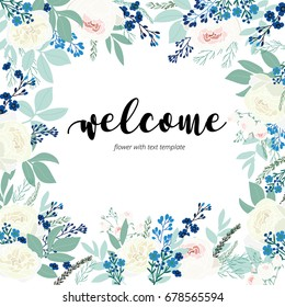 welcome word hand drawn with flower rose