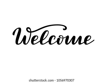 Welcome word, logo, Hand sketched  Welcome brush lettering typography. Hand drawn  Welcome  lettering sign. Badge, icon, banner, tag, illustration