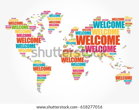 Welcome World Map Typography Word Cloud Stock Vector Royalty Free