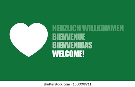 Welcome you written in four different languages