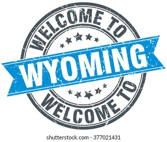 welcome to Wyoming blue round vintage stamp