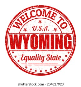 Welcome to Wyoming grunge rubber stamp on white background, vector illustration