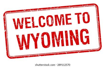 welcome to Wyoming red grunge square stamp