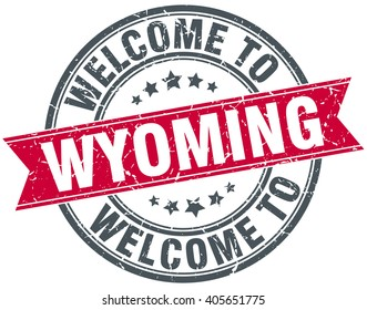 welcome to Wyoming red round vintage stamp