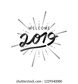 Welcome year 2019 celebration vector