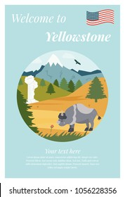 Welcome to Yellowstone  poster with bison