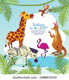 Welcome to Zoo Banner, African Animals on Palm Leaves Nature Background, Kangaroo, Pink Flamingo, Giraffe, Zebra and Funny Monkey Jumping on Tree Branch, Wildlife, Cartoon Flat Vector Illustration