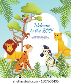 Welcome to Zoo Banner, African Animals on Palm Leaves Nature Background, Lion King, Lioness, Tiger Predators, Zebra and Funny Monkeys Jumping on Tree Branch, Wildlife, Cartoon Flat Vector Illustration