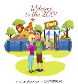 Welcome to the Zoo Banner Happy Couple Making Selfie at Entrance to Animal Park with Lion, Tiger and Monkeys Behind of Fence, Man and Woman Leisure, Traveling Pastime. Cartoon Flat Vector Illustration