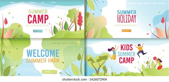 Welcoming and Invitation Cartoon Banner Promo Set. Advertising Poster Offering Rest in Park, Kids Camp. Happy Vacation. Natural Holiday and Landing Page. Vector Funny Time Flat Illustration
