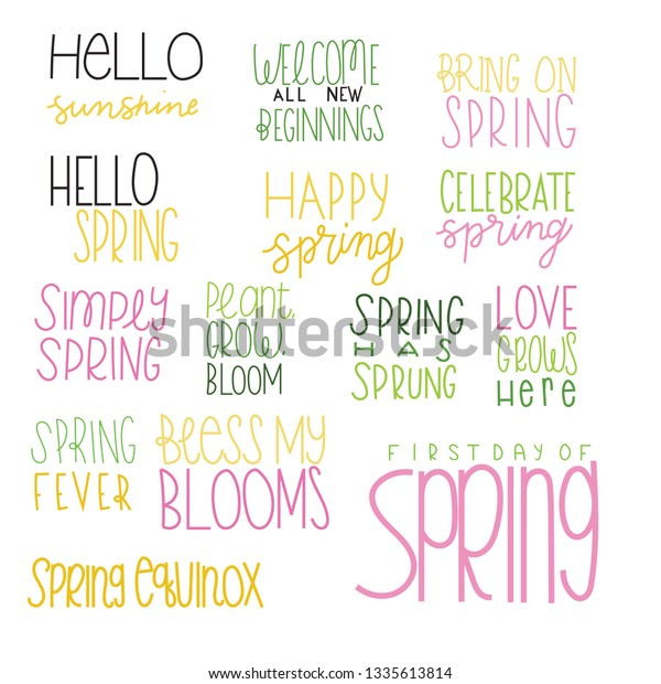 Welcoming Spring Sayings Phrases Greetings Cards Stock Vector