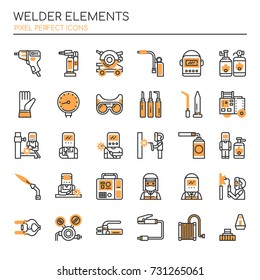 Welder Elements , Thin Line and Pixel Perfect Icons