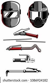 Welder equipment set, welding helmets, electrode holders, gas cutters, welding and cutting equipment. Vector logo design elements.