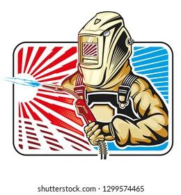 welder logo color vector