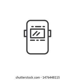 Welder mask line icon. linear style sign for mobile concept and web design. Industrial welding mask outline vector icon. Symbol, logo illustration. Vector graphics