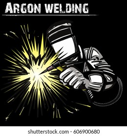 Welder in a mask performing argon welding of the metal. Black background. Vector illustration