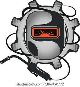 Welder mask welding machine and gear symbol for business