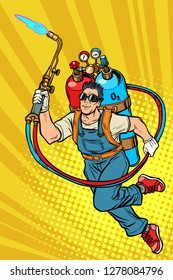 welder professional worker. superhero with gas cylinders. Pop art retro vector illustration kitsch vintage