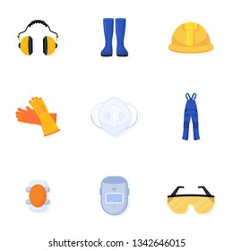 Welder uniform vector illustrations collection. Worker, builder safety equipment. Handyman blue overall. Welding helmet and glasses. Protective gear, wear, gloves isolated design element