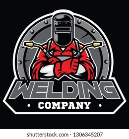 welder wearing welding helmet pose in badge