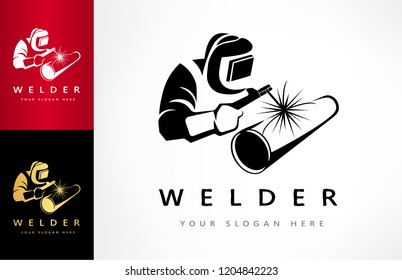 Welder welds a pipe in welding mask logo vector