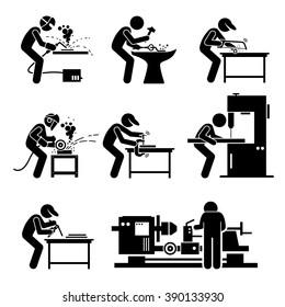 Welder Worker using Metalworking Steelworks Tools and Equipment for Welding Work in Metalwork Workshop