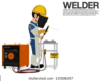 A welder is working on the shop floor