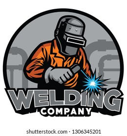 welder working with weld helmet in badge design style