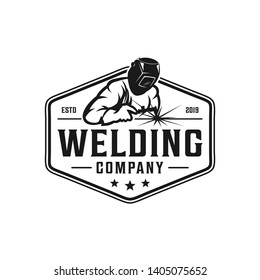 Welding company badge logo design