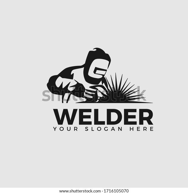 Welding Company Logo Design Classic Welder Stock Vector Royalty Free 1716105070