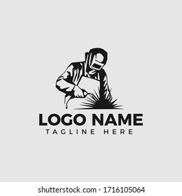 Welding company logo design, WELDER LOGO, A WORKER CONCENTRATES CLASS ON THE HEAD
